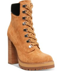 madden girl train high-heeled lug sole booties