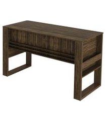 mesa escritório 2 gavetas 1 c/ chave nogal tecno mobili marrom