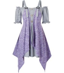 plus size off shoulder poet sleeve t-shirt with space dye cardigan