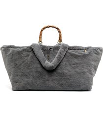 la milanesa faux-fur tote bag - grey