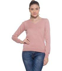 blusa basica passion tricot rose