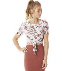 blusa serinah floral amarração feminina