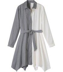 tweekleurige blousejurk van tencel™ met stoffen ceintuur, wit/grijs gestreept 42