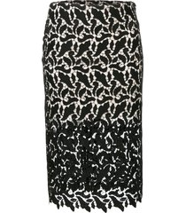 emporio armani sheer lace pencil skirt - black