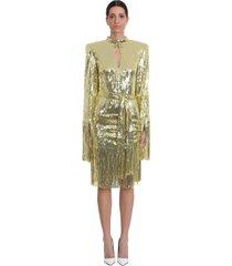 balmain dress in gold tech/synthetic