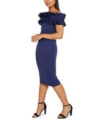 quiz ruffle off-the-shoulder midi dress