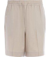 y-3 beige bermuda shorts