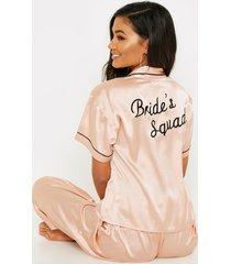 geborduurde roze gouden brides squad pyjama, roségoud