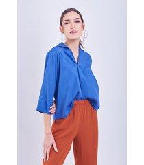 blusa azul donadonna mile