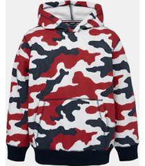 tommy hilfiger boy's big boy camo hoodie navy blazer - l