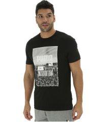 camiseta puma photoprint skyline - masculina - preto