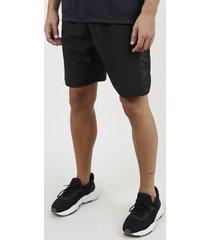 bermuda masculina esportiva ace com faixa lateral em tela preta