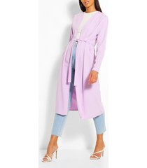 ruched detail belted duster coat, lilac