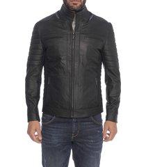 chaqueta de cuero negro creta