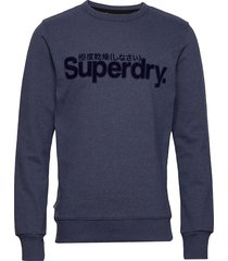 core logo faux suede crew ub sweat-shirt tröja blå superdry