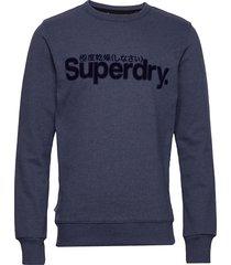 core logo faux suede crew ub sweat-shirt tröja blå superdry