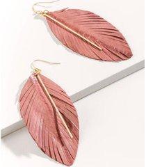 alivia leather leaf bar drop earrings - mauve