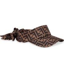 fendi printed ff motif visor - brown