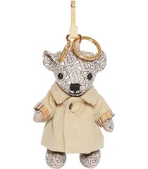 burberry thomas bear charm in trench coat - neutrals