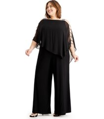 msk plus size embellished cape-overlay jumpsuit
