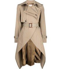 alexander mcqueen asymmetric belted trench coat - brown