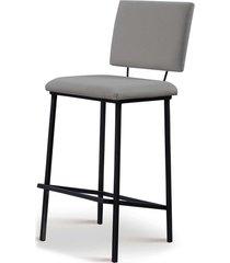 banqueta marcele aã§o preto assento/encosto estofado linho cinza daf - cinza - dafiti