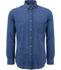 none of the above long sleeve denim shirt - dark denim noto-drk