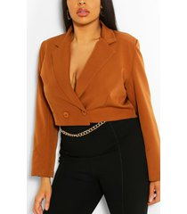 plus woven tailored cropped blazer, rust