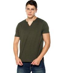 camiseta con botones de hombre-verde militar polovers