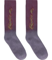 palm angels flames cotton blend socks