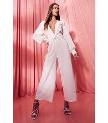 satijnen gedraaide cullotte jumpsuit, white