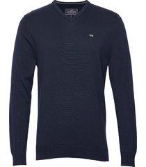 allen v-neck sweater stickad tröja v-krage blå lexington clothing
