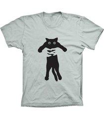 camiseta lu geek manga curta gato abraçado prata