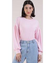 blusão de moletom feminino manga bufante rosa claro