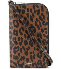 ganni leopard-brown on-strap wallet