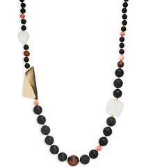 wood, coral & crystal beaded long necklace