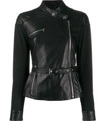 pinko belted slim-fit jacket - black