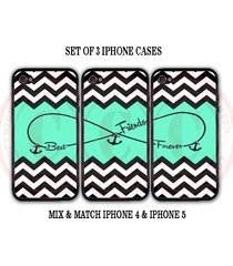 personalized mint black chevron bff best friends iphone case 3 iphone 4 4s cases