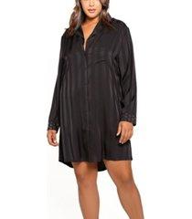 women's notch collar oversized night shirt