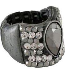 anel armazem rr bijoux cristais cravejados gota - feminino