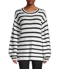 karl lagerfeld paris women's blouson-sleeve stripe sweater - white black - size l