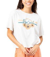 rip curl juniors' flower power cotton crop t-shirt