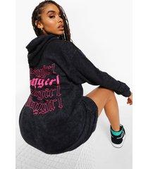 acid wash gebleekte babygirl hoodie jurk, charcoal