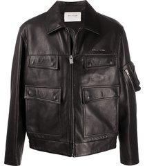 1017 alyx 9sm zip-up leather jacket - black