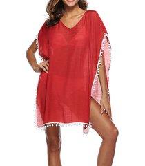 vestito con coprispalle in spiaggia con nappe scollo a v per le donne