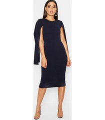 cape sleeve bodycon midi dress, navy