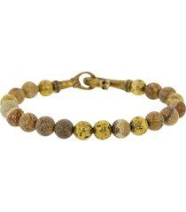 jasper brass beaded bracelet