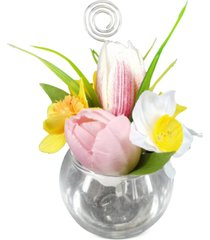 martha stewart collection artificial tulip daffodil place card holder, created for macy's