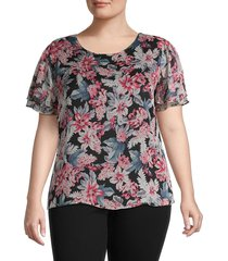 vince camuto women's plus tiered-sleeve top - rich black - size 3x (22-24)
