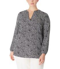 anne klein plus size printed split-neck blouse